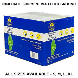 Case Of 1000 Disposable Gloves 10 Boxes Vinyl Powder Free Gloves latex Free