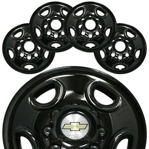 4 Black Express Van 16 8 Lug Wheel Skins Hub Caps Rim Simulators Center Covers