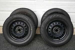 195 65r15 Bridgestone Blizzak Snow Winter Tires Set Of 4 With Rims For Scion Xb