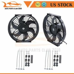 10 Inch Pair Of 2 Universal Radiator Ac Condenser Electric Cooling Fan 1730 Cfm
