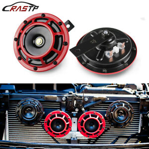 2pcs White Super Loud Compact Electric Blast Tone Horn Car Motorcycle Suv 12v