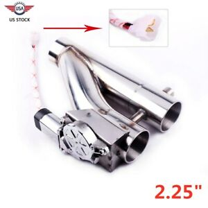 2 25 57mm Y Pipe Dual Valve Electric Exhaust Cut Out Remote Kit Exhaust Pipe Us