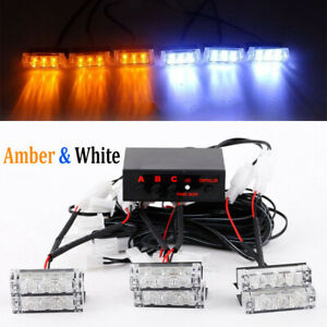 White amber 18led Emergency Warning Strobe Lights Bar Deck Dash Grill Car Truck