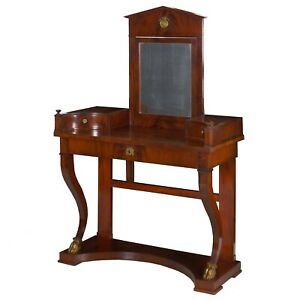 19th Century Empire Flamed Mahogany Antique Dressing Table Console Baltic State
