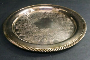 Vintage Wma Rogers Silver Plated Serving Tray Platter 12 1 4 Round Ornate