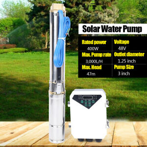 3 Dc Solar Water Pump 48v 400w Submersible Well Garden Irrigation Industrial Us