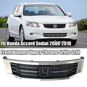 Fit Honda Accord Sedan 2008 2010 Front Bumper Upper Chrome Grille Grill Assembly