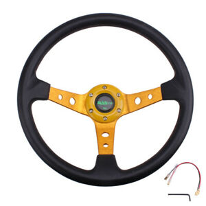 Racing Steering Wheel 350mm 14inch Deep Dish 6 Bolt Pu Leather Horn Button Us