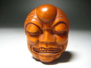 Netsuke Tsuge Nou Mask Wooden Japan Artworks Wood Carving Ornament Sagemono