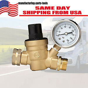 Water Pressure Regulator For Rv Lead free Brass Adjustable Reducer Gauge 3 4