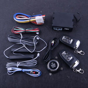 Pke Passive Keyless Entry Push Button Remote Engine Start stop Alarm System Kits