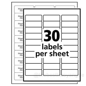 2 625 x1 Self Adhesive Tag Sticker Label A4 Labels Shipping Address Paper 30up
