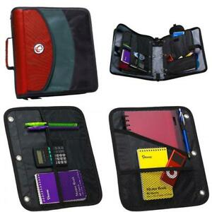Case It Dual Ring Zipper Binder With Exterior Pocket Red 3 Inch Dual 121 a