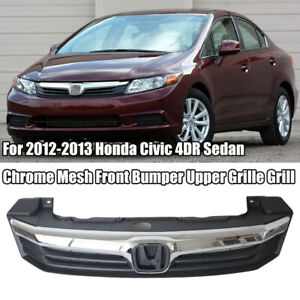 For 2012 2013 Honda Civic 4dr Sedan Chrome Mesh Front Bumper Upper Grille Grill