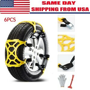 6pcs Snow Tire Chains For Car Suv Thickened Anti skid Emergency Strap Universal