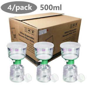 4xsterile Disposable Vacuum Bottletop Lab Filter 500ml Funnel 500ml Received Lab