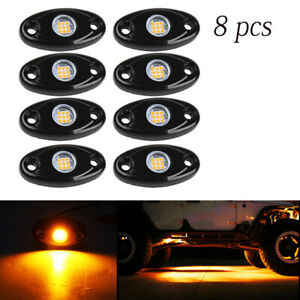 8pcs Led Rock Lights Waterproof Led Neon Underglow Light For Car Truck Amber