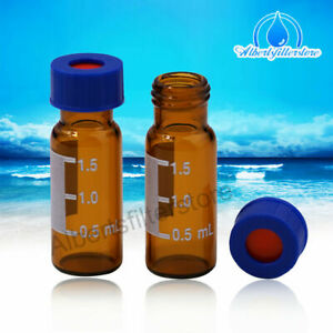 100pcs 2ml 9 425 Small Glass Vials Bottles Amber Containers With Screw Caps Hplc
