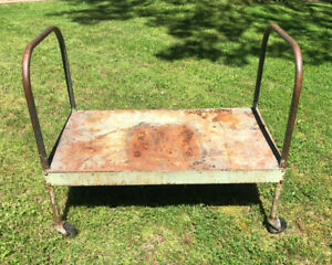 Vintage Industrial Cart Factory Push Cart Flat Dolly Double Handle Old Green