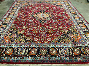 9x12 Vintage Rug Oriental Wool Hand Knotted Fine Antique Red Blue Handmade 10x12