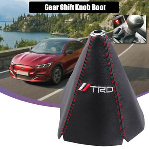 For Mt At Shift Knob Trd Pvc Racing Car Shifter Boot Cover Leather Red Stitch