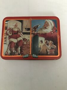 1995 Coca Cola Playing Cards Christmas With Metal Case