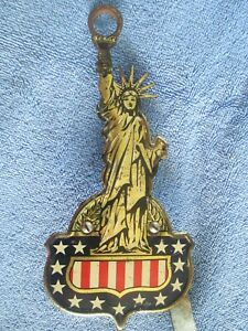 Vintage Ny Statue Of Liberty License Plate Topper Brake Light Shield Tin Litho