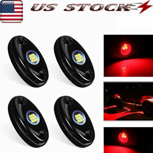 4 Pods Led Rock Lights Waterproof Led Neon Underglow Light For Car Truck Red