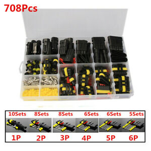 1 6pin 708pcs Car Electrical Wire Cable Waterproof Connector Plug Terminal Kit