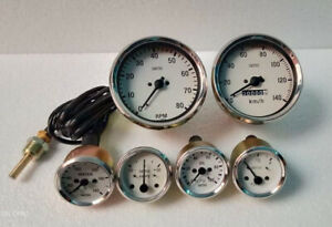 Smiths Replica Kit Temp Oil Fuel Amp Gauge 100 Mm Speedometer Rpm White