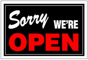 Gag joke humorous Double sided Plastic Open closed Sign New