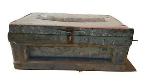 Antique Primitive Wood Chest Blue Gray Red Paint Trunk Box Nice Patina