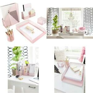 Blu Monaco Office Supplies Pink Desk Accessories For Women 5 Piece Desk Organize