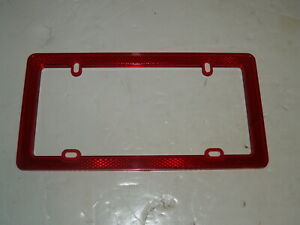 License Plate Frame Reflective Red Reflectors New
