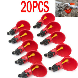 20 Pack Poultry Water Drinking Cups Chicken Hen Plastic Automatic Drinker