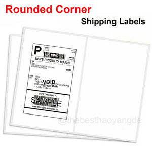 400 Shipping Labels Rounded Corners 2 Labels Per Sheet 8 5 x11 Self Adhesive