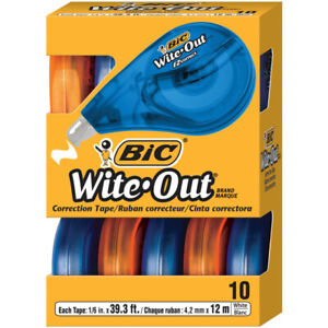 Bic Wite Out Ez Correct Correction Tape 10pk