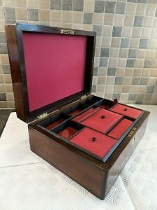 Victorian Inlaid Rosewood Sewing Box Superb Interior With Tray Lock