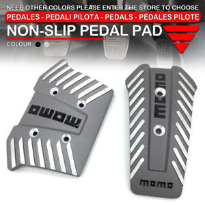 Universal At Racing Sport Truck Car Non slip Pedals Pad Covers 2pcs set Silver