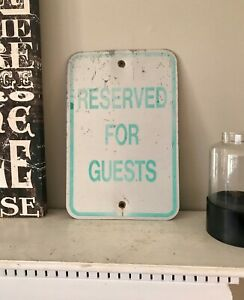Reserved For Guests Sign Urban Industrial Green And White Vintage Shabby Decor