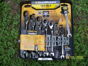 Gearwrench 7 Pc Standard Full Polish Ratcheting Flex Head Combination Wrench Set