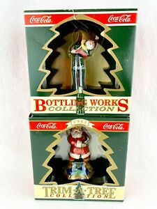 2 Coca-Cola Bottling Works and Trim-A-Tree Collection Santa Bottle Ornaments