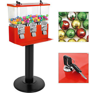 Red Triple Bulk Candy Vending Machine Three head W locks keys Candy Dispenser
