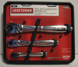 Craftsman 3 Pc Socket Ratchet Wrench Tool Set 84t Tooth Thin Profile 44992 New
