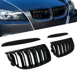 For Bmw 3 Series 2005 08 E90 E91 Dual Slat Gloss Black Front Kidney Grill Grille