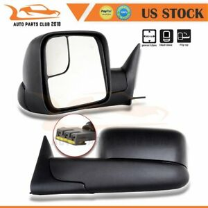 For 1994 97 Dodge Ram 1500 2500 3500 Pair Power Black Tow Mirrors