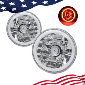 5 75 Inch 5 3 4 Round Red Halo Angel Eyes Diamond Cut Clear Lens Headlights