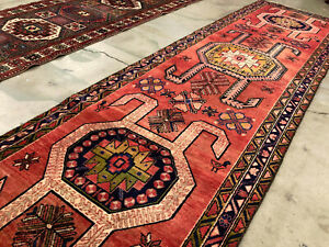 3x10 Vintage Runner Rug Wool Hand Knotted Antique Handmade Coral Red Blue 3x