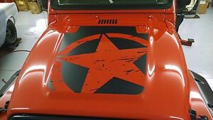 Distressed Military Star Fits Jeep Wrangler Tj Hood Decal 1997 2006 Models