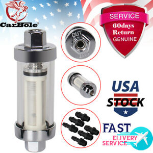Universal 1 4 5 16 3 8 Chrome 3 5 Glass Reusable Washable Inline Fuel Filter